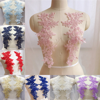Sewing Lace Fabrics 2 Pairs 14*35cm Colors Ganza Embroidery Flower Large Lace Applique For Wedding Dress, Bridal Gown 5 pairs ivory floral lace applique pair motif for wedding dress bodice headpiece bridal lace flower wholesale lace flower