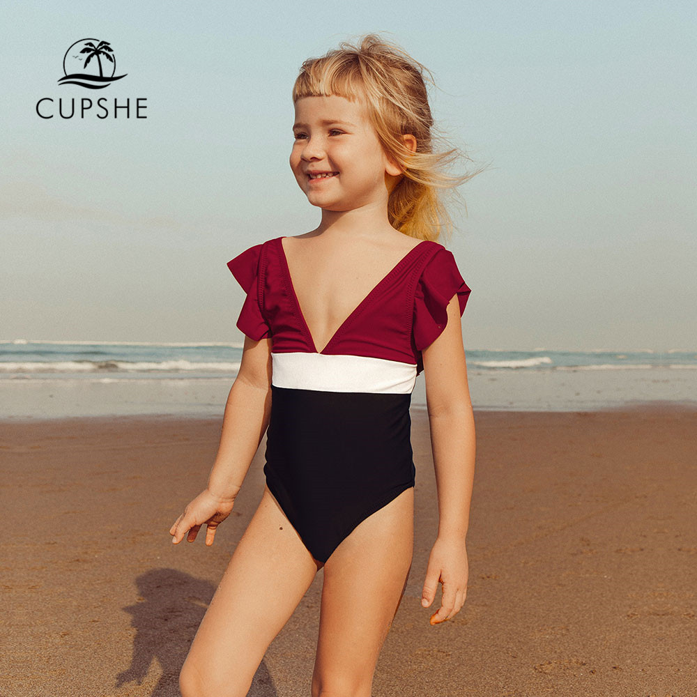 Colorblock com Babado Decote em v Roupa de Banho de Uma Peça para Meninas e Meninas Cupshe Maiô Infantil Anos 2020 12