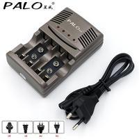 PALO AA AAA bateria szybka ładowarka LED wyświetlacz inteligentna ładowarka do akumulatora 1.2V AA AAA lub 9V NiCd NiMh akumulator w Ładowarki od Elektronika użytkowa na