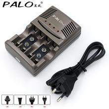 PALO cargador de batería AA y AAA, cargador de batería inteligente con pantalla LED de 1,2 V, AA, AAA o 9V, batería recargable NiCd NiMh