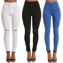 Azul negro blanco Sexy elástico agujero rasgado Skinny lápiz Jeans Mujer alta cintura más tamaño Delgado pantalones vaqueros M-2xl Jeans mujer 2019