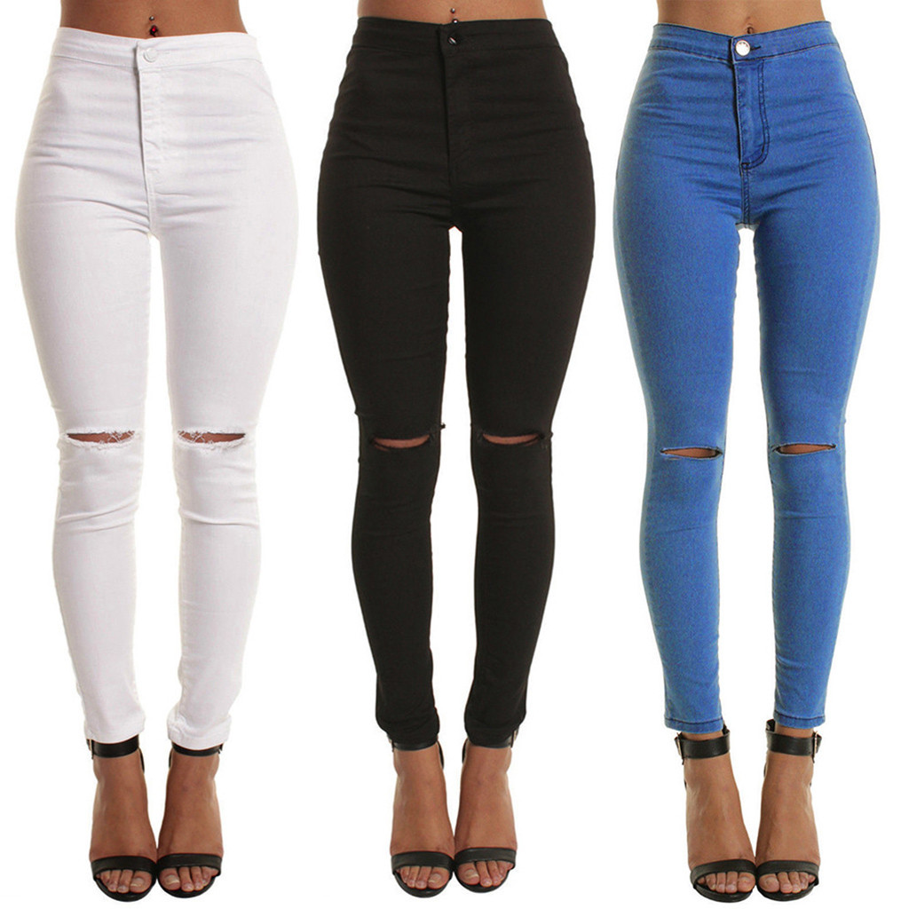 Blue Black White Sexy Elastic Hole Ripped Skinny Pencil Jeans Woman High Waist Plus Size Slim Denim Pants M-2xl Jeans Woman 2020