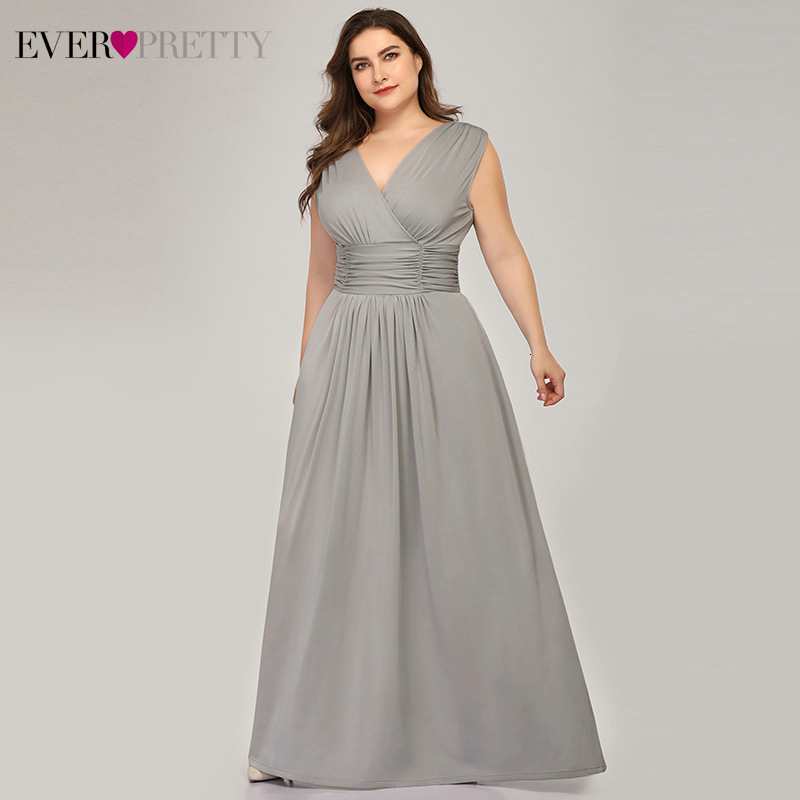 Sexy Grey Evening Dresses Plus Size Ever Pretty A-Line Double V-Neck Ruched Sleeveless Stretchy Evening Gowns Vestidos Largos