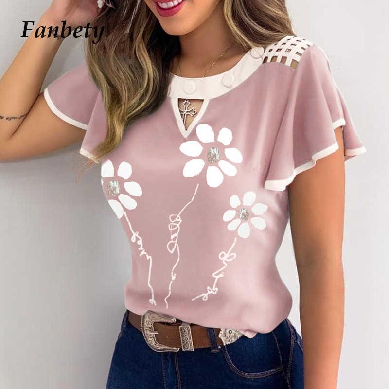 5XLエレガントな蝶の袖フリルoネックブラウス 2020 セクシーな花柄プルオーバーblusa女性の夏アウト中空レースのシャツ