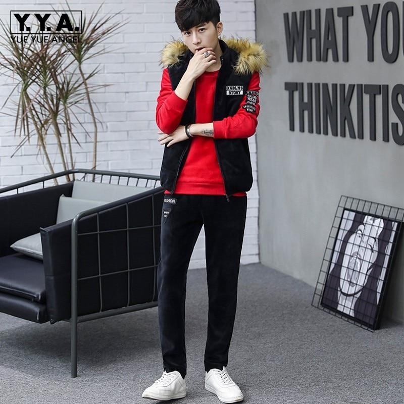 2019 New Mens Sportswear Fashion Sports Suit Autumn Winter Warm Casual Pullover Sweatshirt Hooded Vest Pants Three Piece Set