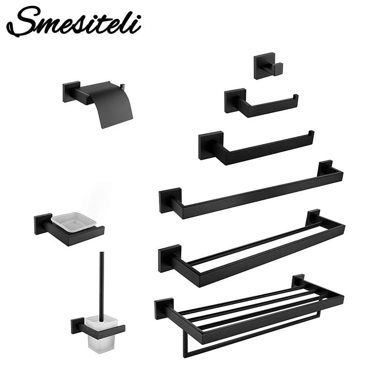 Black Bathroom WC Accessories  Toilet Paper Holder Wall Hook Towel Holder Rack Stainless Steel Kitchen Organizer