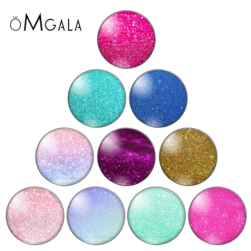 Mix Style Colorful Bling Star 10mm 12mm 14mm 18mm 20mm 25mm 30mm Photo Round Glass Cabochon Demo Flatback Jewelry DIY Making