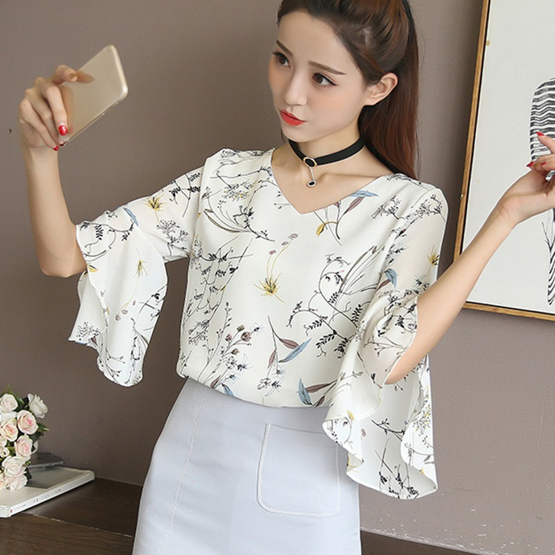 Women Floral Print Blouse Sexy V Neck Shirt Flare Sleeve Chiffon Blouse Casual Top