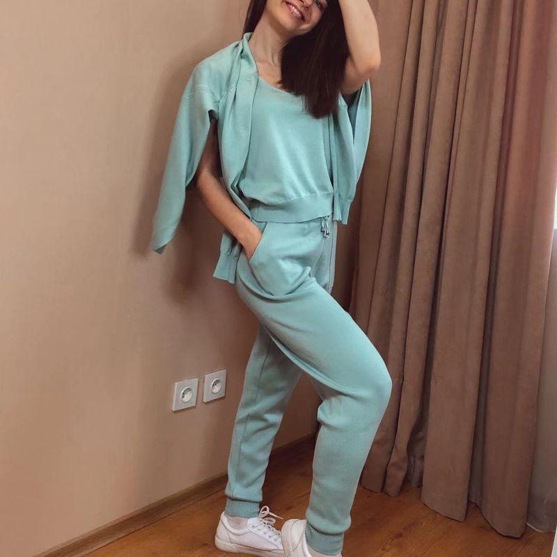 GIGOGOU – ensemble Chic 3 pièces pour femmes, Costume tricoté, couleur unie, Cardigan, pantalon de jogging, débardeur sans manches 6