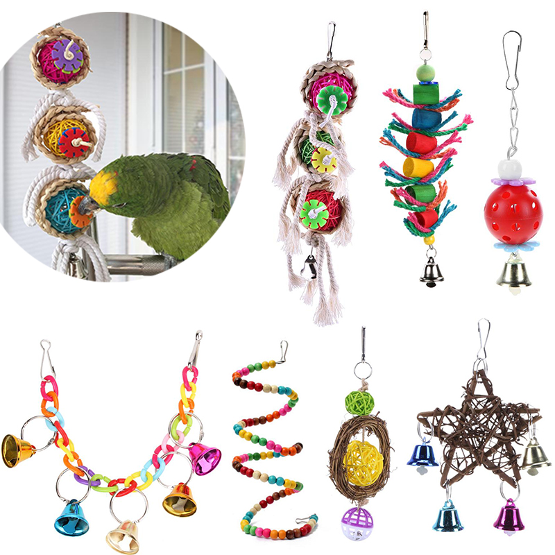 Cockatiel Parrot Toys Wooden Steel Hanging Bell Cage Toys For Parrots Bird Squirrel Funny Chain Swing Toy Pet Bird Supplies