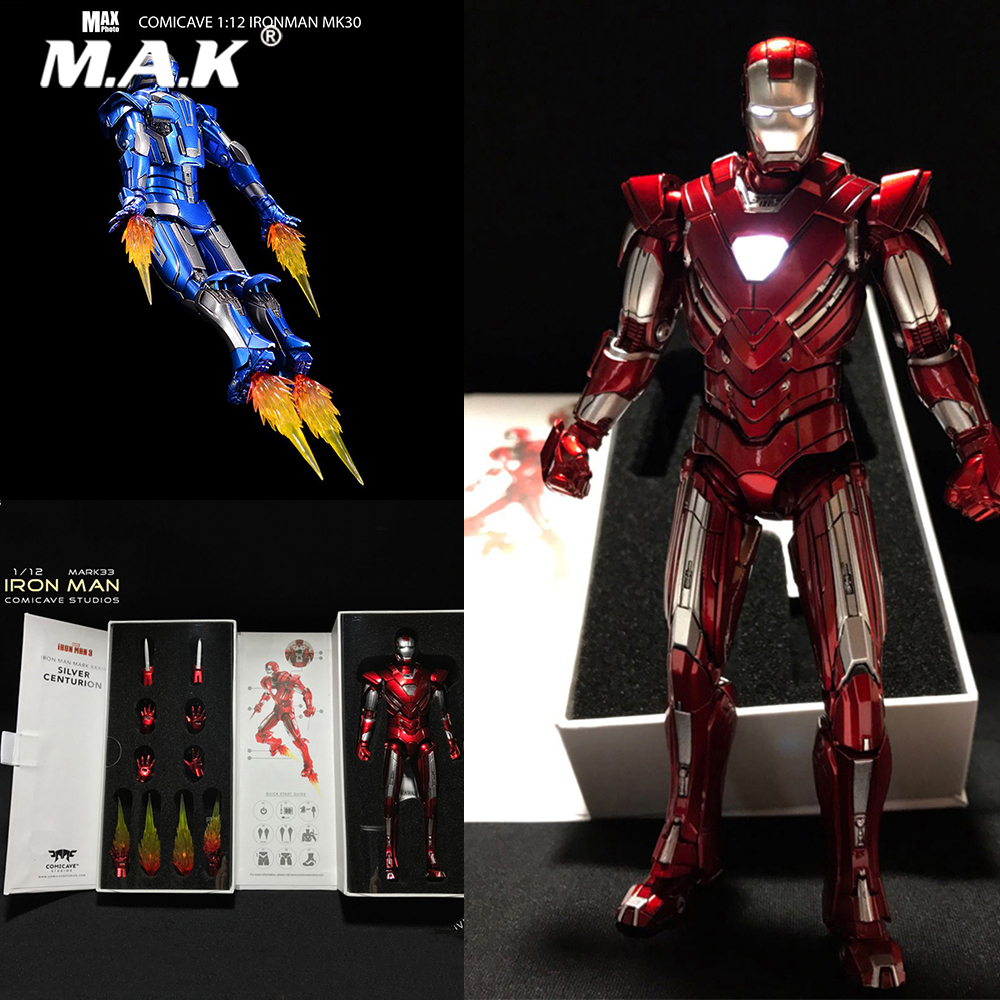 Iron Man MK33 Blue Ver Action Figure Comicave 1//12 Scale Alloy Led Light Model