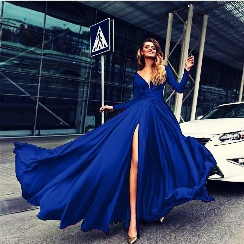 2019 Europe And America Hot Models Sexy V-neck High Slit Big Hemline Party Formal Dress Women's Hot Selling WOMEN'S Dress