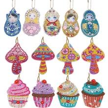 Rhinestone Embroidery Keychain Diamond-Painting Cross-Stitch 5D Craft-Kits Pendant DIY