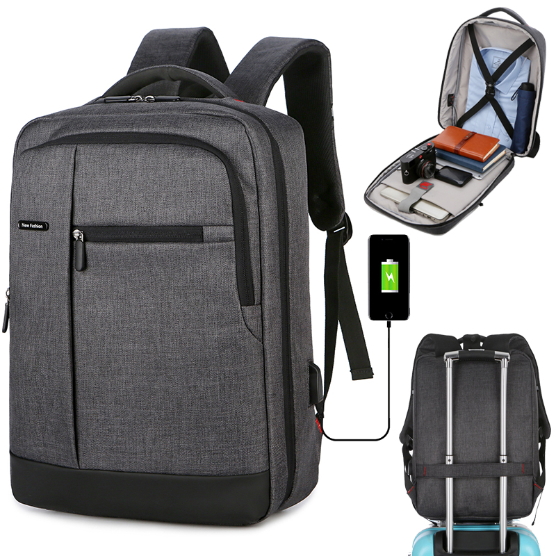 15.6 Inch Men School Laptop Backpacks Travel Multi USB Charger Male Mochila College Backpacks Business Back Pack Bag For Boys