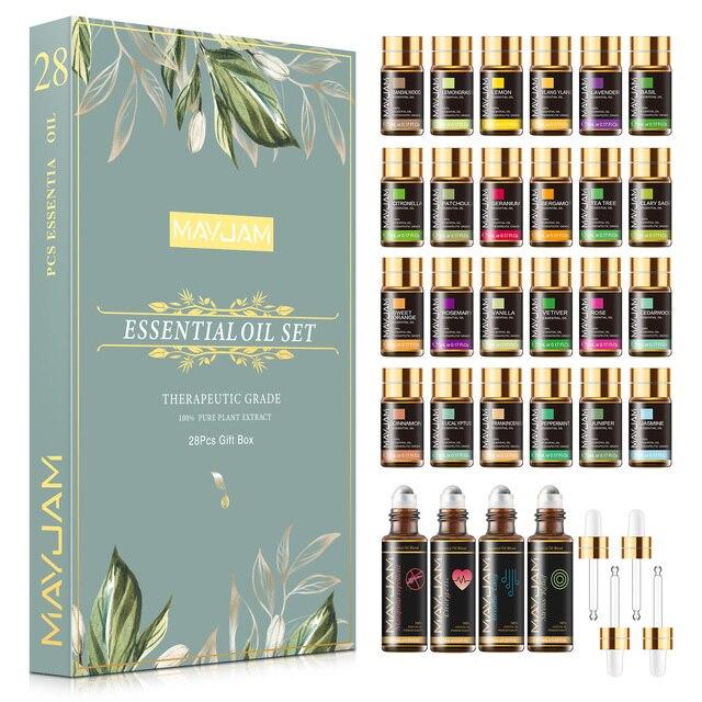 28pcs Pure Natural Essential Oils Gift Set Massage Shower Diffuser Aroma Oil Lavender Vanilla Sage Jasmine Rose Stress Relief 1