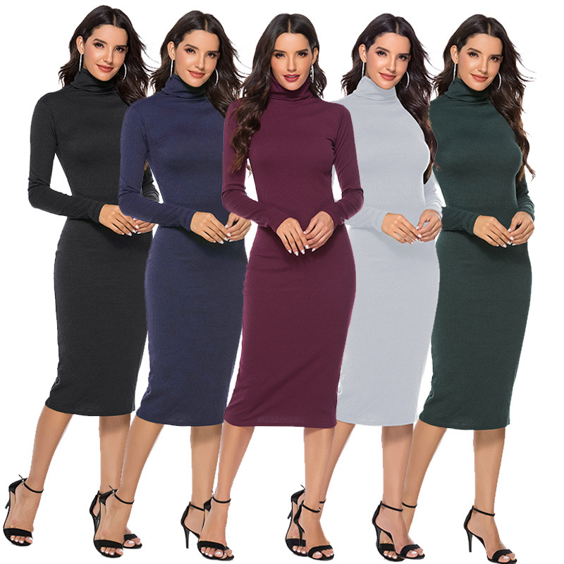 Knitted Turtleneck Midi Bodycon Dress Autumn Winter Women Casual Long Sleeve 5XL Plus Size Dresses Slim Elastic Female Vestidos