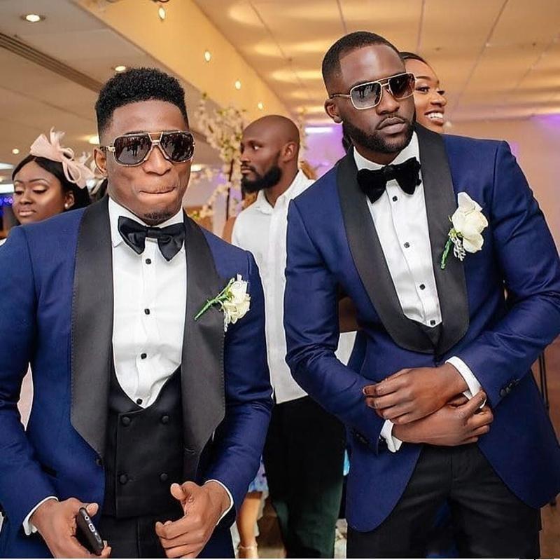 Men Suits Royal Blue and Black Groom Tuxedos Shawl Satin Lapel Groomsmen Wedding Best Man ( Jacket+Pants+Bow Tie+Vest ) C684