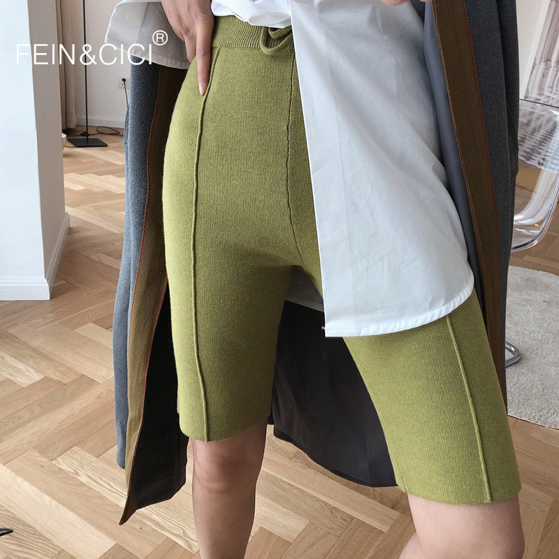 Slim Skinny Short Pants Black Green Color Women Female Big Elastic