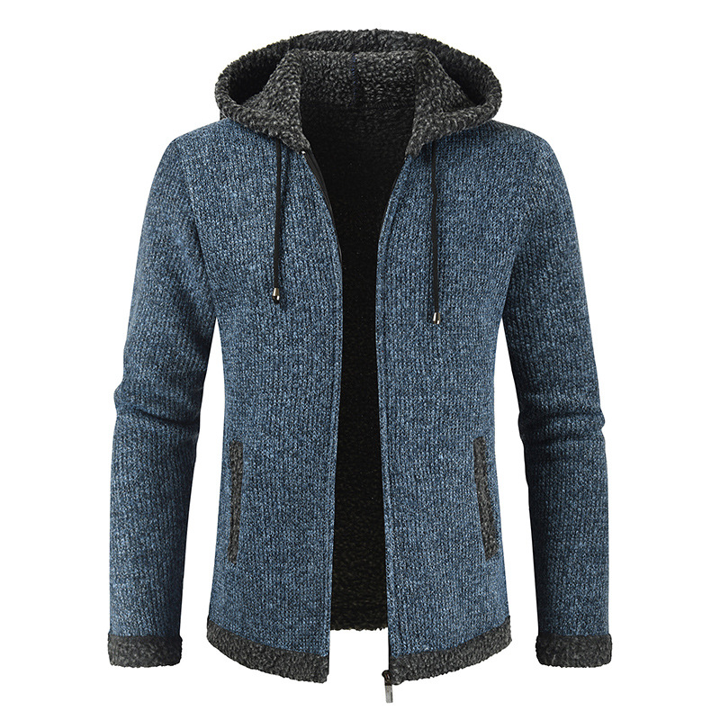 Winter Plus Size Casual Thick Blue Cardigan Mens Hooded Sweater Knitted Fleece Fluffy Knitwear Long Sleeve Warm Sweater Male 3xl