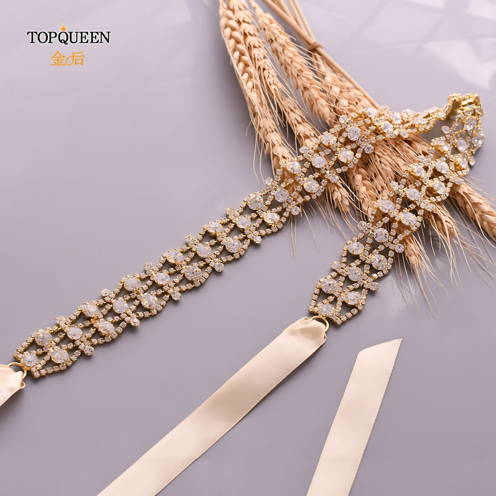 TOPQUEEN Golden Wedding Belts Diamond Handmade Rhinestone Belt Gold Wedding Bridal Belt Gold Sash Faja For Dresses Belt S414-G