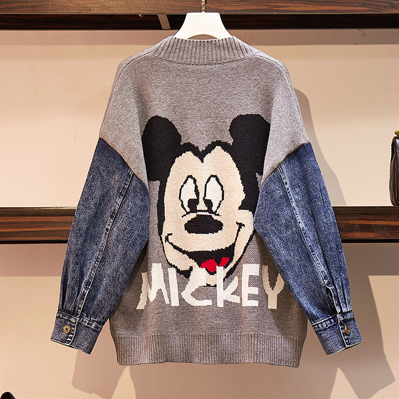 2019 Winter New Women Cardigan Knit Sweater Plus Size Casual Cartoon Mickey Denim Stitching Single Breasted Buttons Female Coats