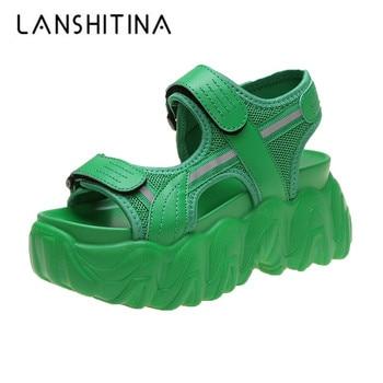 цена Women's High Heel Gladiator Sandals Platform Chunky Fashion Sneakers Open Toe Chunky Creepers Summer Shoes Casual Beach Travel онлайн в 2017 году