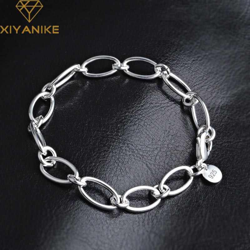 XIYANIKE 925 Sterling Silver Creative Fashion Handmade Bangles & Bracelet For Women Korean Style Simple Party Couple Jewelry