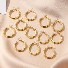 Серьги кольца женские золотистые гладкие 6 пар/комплект