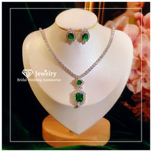 CC Wedding Jewelry Sets 925 Sterling Silver Stud Earrings Necklace Luxury Accessories for Bridal Party Green CZ Stone CCAS223
