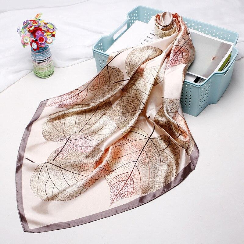 90 CM Scarf Female New Paragraph Silk Small Square Europe Leaf Print Shawl Hijab Scarf Customization