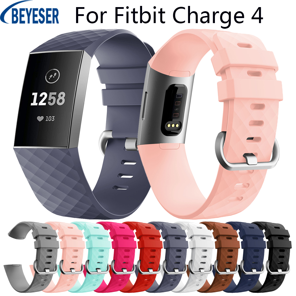 Fashion Smart Silicone Strap Band For Fitbit Charge 4 Replacement Wristband Loop Bracelet Adjustable For Fitbit Charge 3 Upgrade