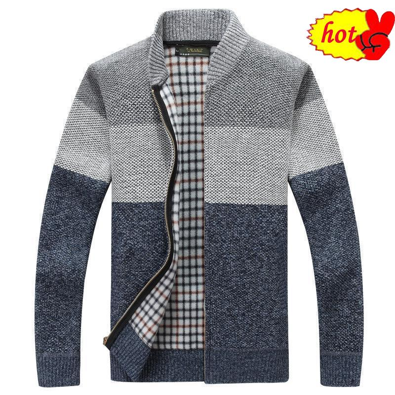 New Mountainskin 2020 Winter Men's Thick Cardigan Coats Mens Clothing Autumn Gradient knitted Zipper Coat SA580