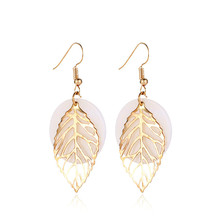 Bohemia Women  Personality Wild Earrings Geometric Natural Shell Leaf Combination Dangle For Female Jewerly