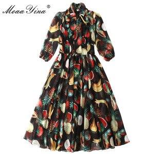 Image 3 - MoaaYina ファッションデザイナードレス春夏の女性の襟フルーツプリントエレガントなシフォン滑走路ドレス