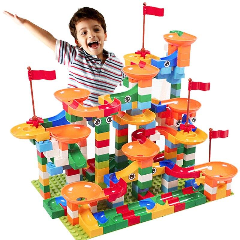 56-324 PCS Marble Race Run Block Compatible INGlys Duploed Building Blocks Funnel Slide Blocks DIY Bricks Toys For Children