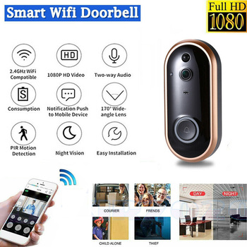 1080P Smart Wireless Doorbell Camera Phone Video Intercom WiFi Alert Door Bell Night Vision Two-Way Talk Home Security Camera video doorbell 7 color lcd screen two way talk hands free door phone 1 camera 1 monitor intercom kit waterproof ir night vision