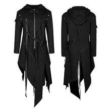 2019 otoño nuevo hombre sudaderas con capucha estilo Punk chaquetas gótico cinturón golondrina-cola abrigo manga larga Vintage Halloween uniforme