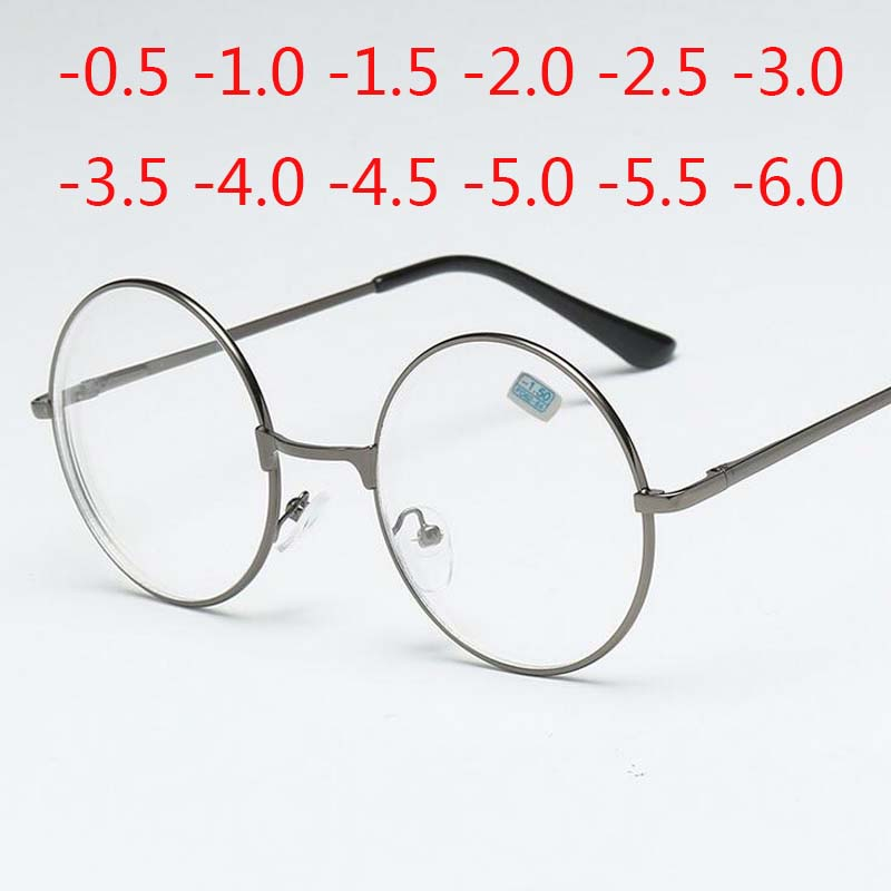 Round Glasses Woman Men Glasses Retro Myopia Optical Metal Frames 1.56 Index Lens Prescription Eyeglasses -1.0 -1.5 -2.0 To -6.0