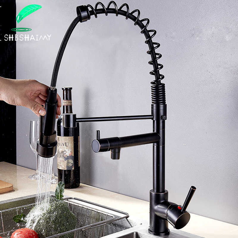 Shbshaimy Brons Keukenkraan Chroom/Nikkel Pull Down Keukenkraan Dubbele Uitloop Sink Water Tap Hot Cold water Mix