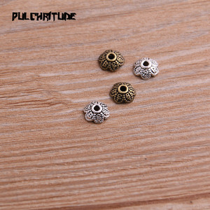 100pcs 3*8*8mm Two Color Bead Caps Charm Hollow Flower Letter Pendants Jewelry Accessories DIY Receptacle Charms