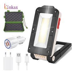 Lampe de Camping portative de secours d'aimant pliable de lumière de travail de torche de lampe de poche LED Rechargeable d'usb avec le crochet intégré de batterie