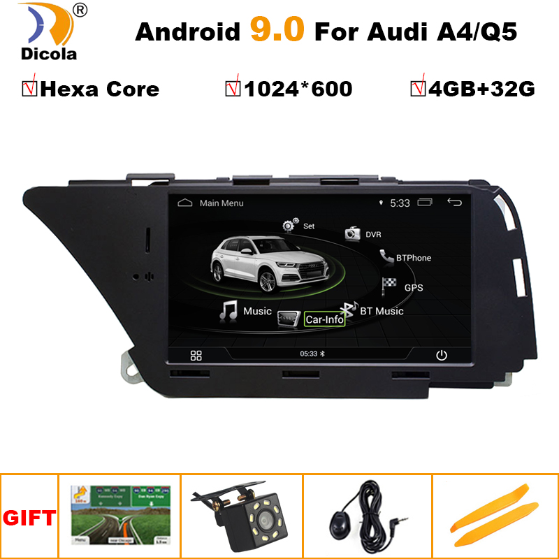 6 leitor de gps do carro do núcleo dvd para audi a4 b8 a5 2008-2016 android 9 navegação 4 gb + 32 gb câmera traseira da tela dos multimédios do rádio do automóvel