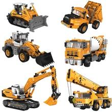 MEOA New City Engineering Series Excavator Crane Bulldozer Concrete Mixer Sets Building Blocks Bricks Compatible Legoings