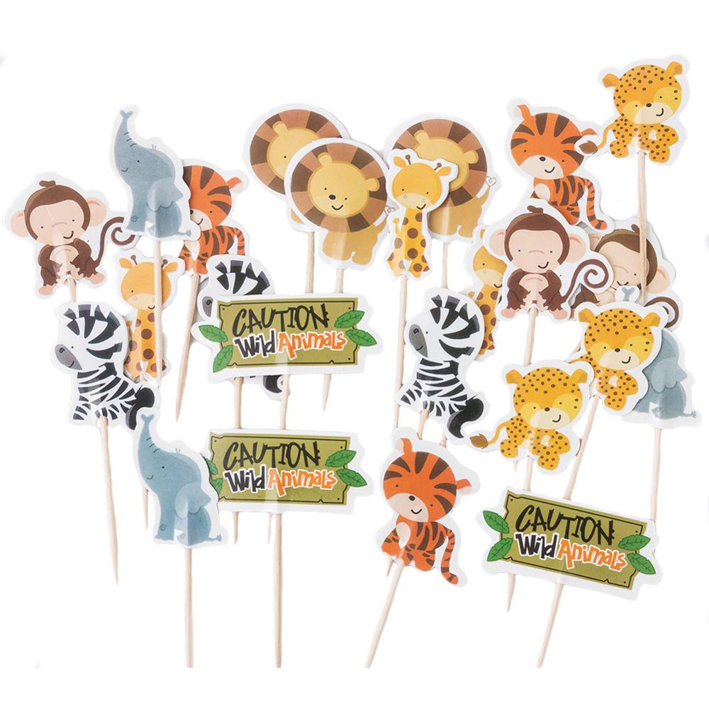 24pcs Jungle Animal Theme Party Cake Toppers Birthday Cake Decorations Kids Birthday Party Decorations Forest Zoo Party Supplies