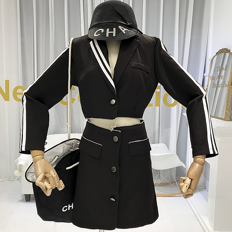 Detachable Womens Two Piece Sets 2019 Autumn New Items High Street Crop Tops skirts Fashionable Designer Suit for Women in Women 39 s Sets from Women 39 s Clothing