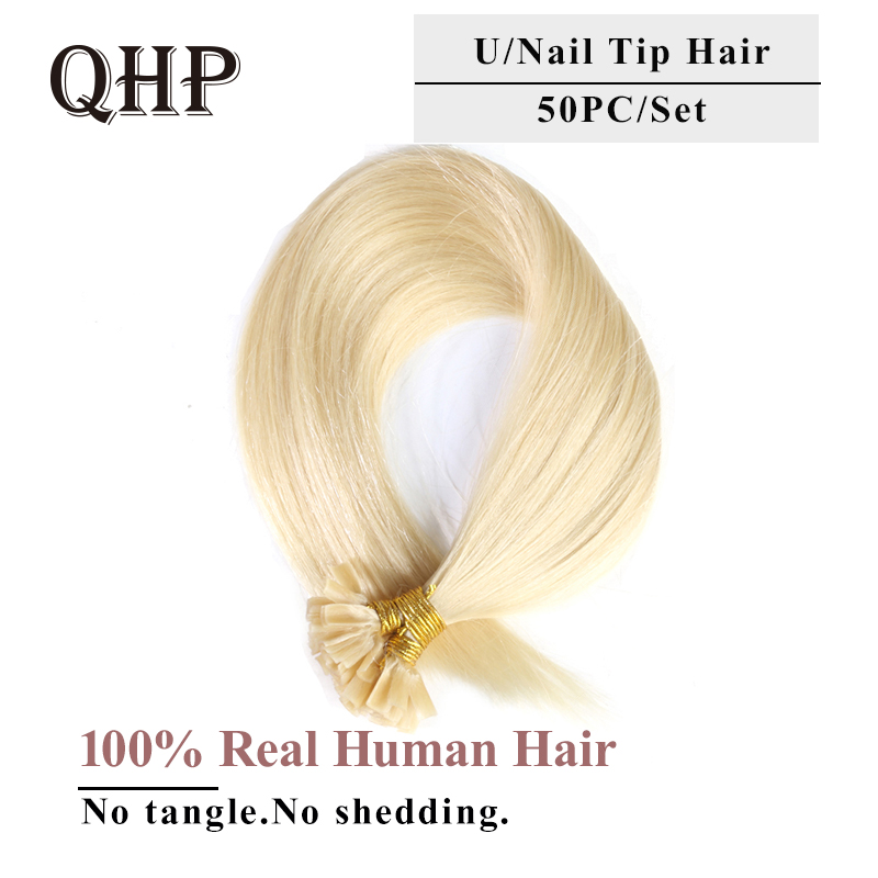 Imported From Abroad Qhp Straight Human Fusion Hair Nail U Tip Machine Made Remy Human Hair Extensions 0.8g/pcs Muti-color