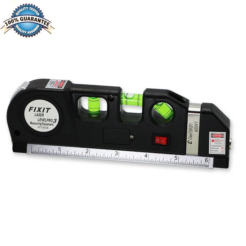 Multipurpose Laser Level Horizon Vertical Measure Tape 8FT Aligner Ruler