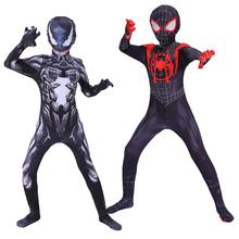 Adult Kids Venom kostium chłopcy Halloween Cosplay Superhero Venom Spuper man kostiumy fantazyjne urodziny kombinezon dziecko wieczorowy kombinezon tanie tanio Spodnie Kombinezony i pajacyki anime Unisex Dzieci Zestawy Other spandex black white Adult kids size 90-180cm Polyester Spandex