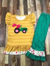 Mais novo remake estilo trator bordado algodão plissado bebê menina boutique roupas
