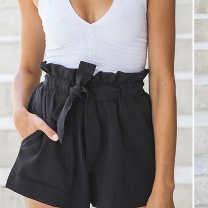 2020 Summer Womens Fashion Shorts Ladies Beach High Waist Bandage Shorts Fashion Female Streetwear S-XL